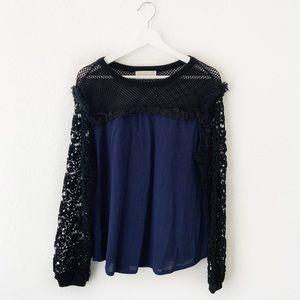 Love Sam Navy Black Net Lace Long Sleeve Blouse